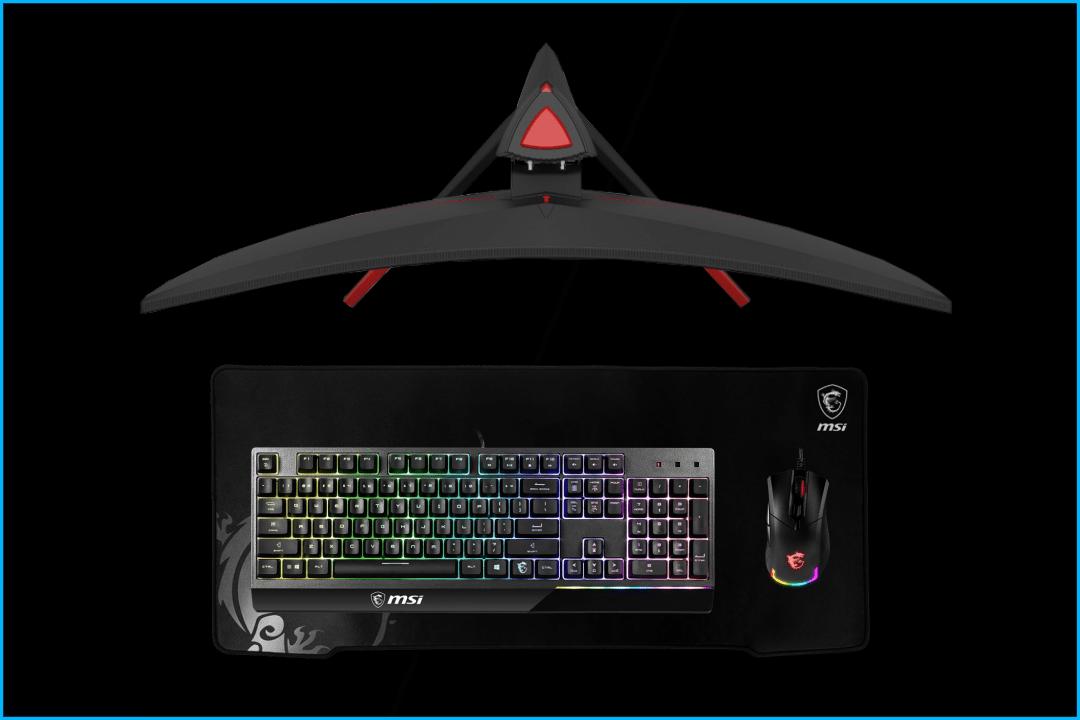 PC-Peripherie, Curved Gaming Monitor, Tastatur, Maus, RGB